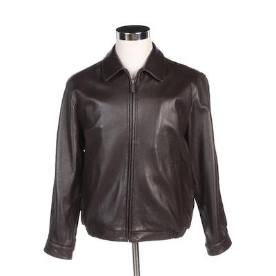 Men's J. Park Collection Brown Lambskin Leather Zip Jacket
