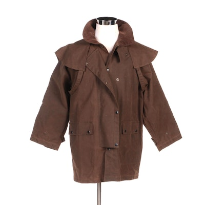 Unisex Kakadu Traders Drovers Jacket in Brown Cotton Oilskin Fabric