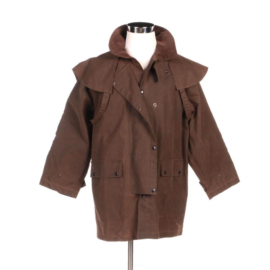Unisex Kakadu Traders Drovers Jacket in Brown Cotton Oilskin Fabric