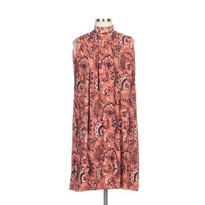 Pleated Paisley Sleeveless Shift Dress