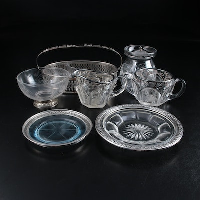Frank M. Whiting & Co. Footed Bowl with Other Glass and Sterling Rimmed Pieces