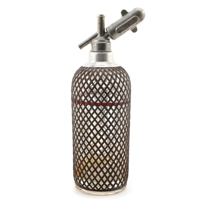 Sparklets Wire-Wrapped Glass Soda Syphon, Early to Mid-20th Century