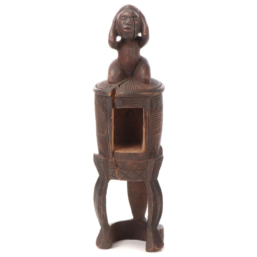 Kuba Style Carved Wood Figural Vessel, Democratic Republic of the Congo