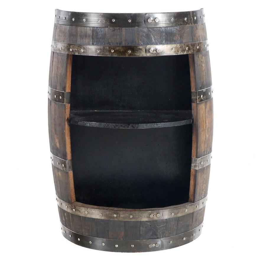 Metal-Banded and Staved Oak Half-Barrel Side Cabinet