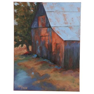 "James Baldoumas Oil Painting ""Weathered Barn,"" 2021"