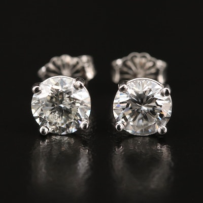 Platinum 2.36 CTW Diamond Martini Setting Stud Earrings with GIA eReport