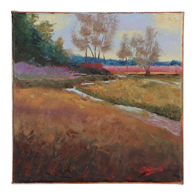 """James Baldoumas Landscape Oil Painting """"Brook & Fields,"""" 2021"""