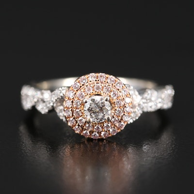 14K Diamond Twisted Ring