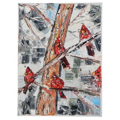 """Patricia Nolan-Brown Oil Painting """"Four Cardinals in the Snow,"""" 2020"""