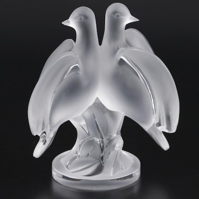 "Lalique ""Ariane Doves"" Frosted and Clear Crystal Figurine"