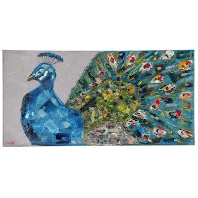 "Patricia Nolan-Brown Oil Painting ""Peacock Magic,"" 2020"