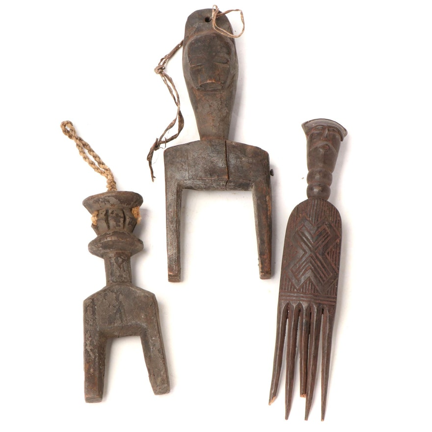 West African Style Heddle Pulleys and Comb