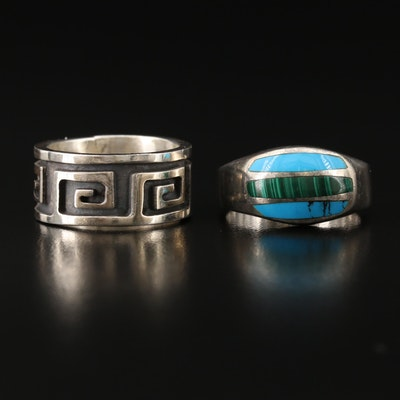Mexican Sterling Greek Key Band and Inlaid Malachite and Turquoise Ring