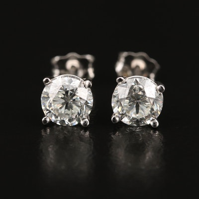 Platinum 2.00 CTW Diamond Stud Earrings with GIA eReports