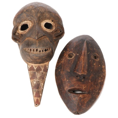 West African Style Mask with Monkey Motif and Central African Mask