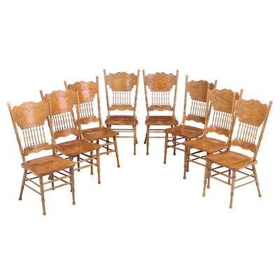 Set of Eight Oak Press-Back Dining Chairs, Mid to Late 20th Century