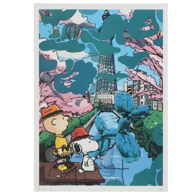 Death NYC Offset Lithograph of Peanuts and Koons at Tokyo Skytree, 2020