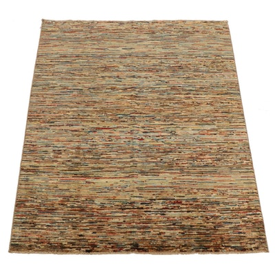 5'0 x 6'4 Hand-Knotted Afghan Gabbeh Modern Style Area Rug