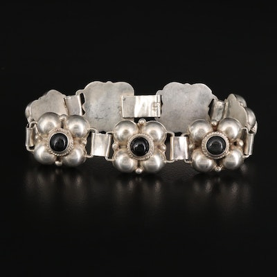 Vintage Mexican Sterling Silver Link Bracelet Featuring Black Glass Accents