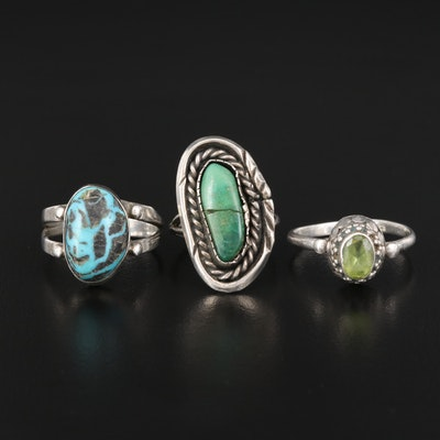 Sterling Silver Turquoise and Peridot Ring Selection