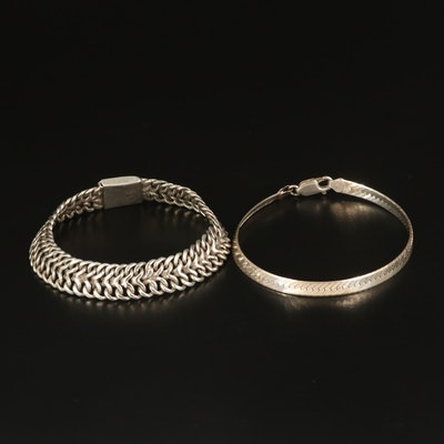 Sterling Infinity Link and Herringbone Chain Bracelets