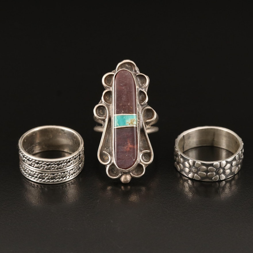 Sterling Bands with Sterling Agate and Turquoise Ring