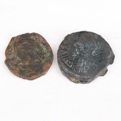 Ancient Byzantine Follis and Half Follis Coins, ca. 518 A.D.