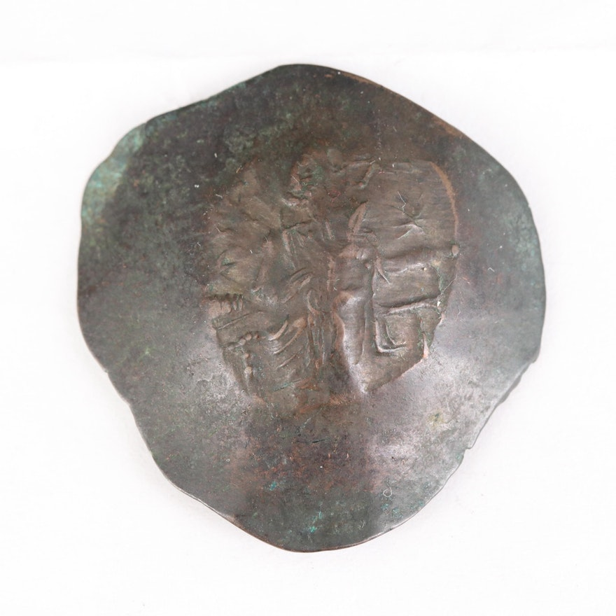 Ancient Byzantine Billon Aspron Trachy Coin of Manuel I, ca. 1143