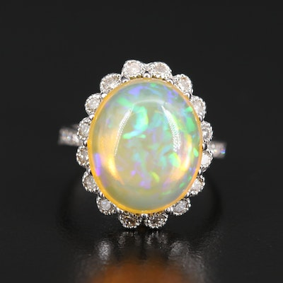 14K 15.30 CT Opal and 1.00 CTW Diamond Halo Ring