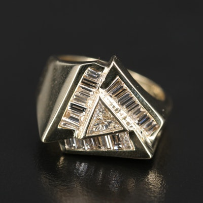 14K 1.40 CTW Diamond Triangle Ring