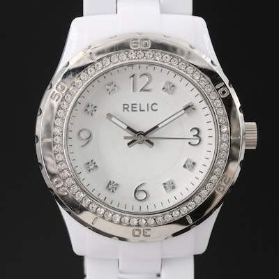 Relic Crystal Accented White Acrylic Quartz Wristwatch