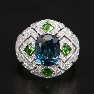 14K 3.38 CT Topaz, Tsavorite and 1.00 CTW Diamond Ring