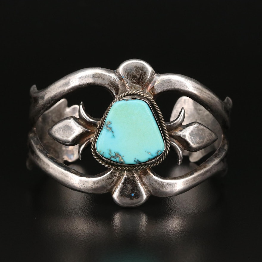 Signed Southwestern Style Sterling Silver Turquoise Sandcast Cuff