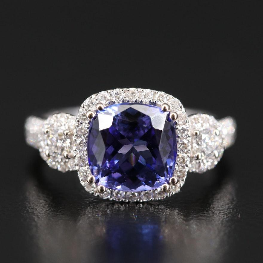 14K 2.69 CT Tanzanite and Diamond Ring