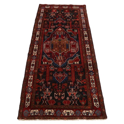 4'9 x 10'11 Hand-Knotted Persian Kurdish Pictorial Area Rug