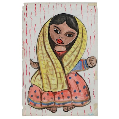 Agapito Labios Jr. Folk Art Mixed Media Painting on Tissue Paper