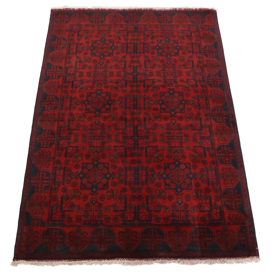 4'3 x 6'8 Hand-Knotted Afghan Kunduz Area Rug