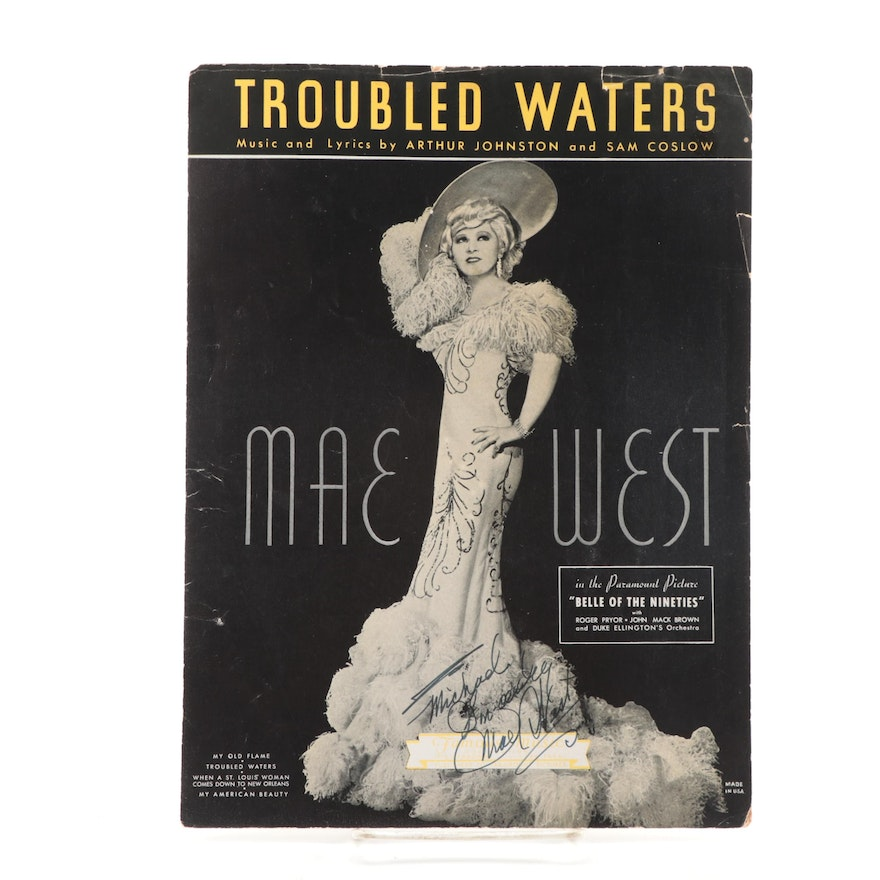 """Mae West Signed """"Troubled Waters"""" Sheet Music, Visual COA"""