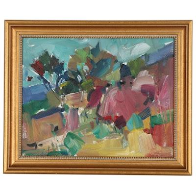 "Jose Trujillo Oil Painting ""Hillside Pines,"" 2019"