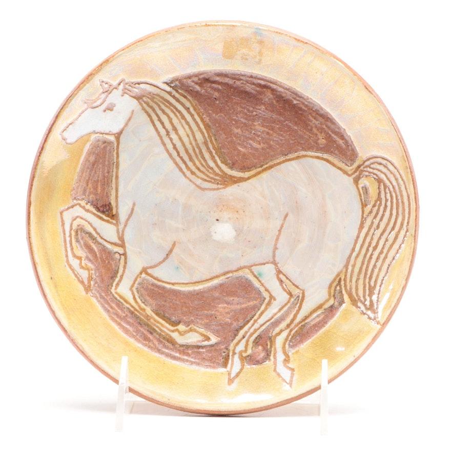 John Nartker Handmade Stoneware Horse Plate, Mid to Late 20th Century