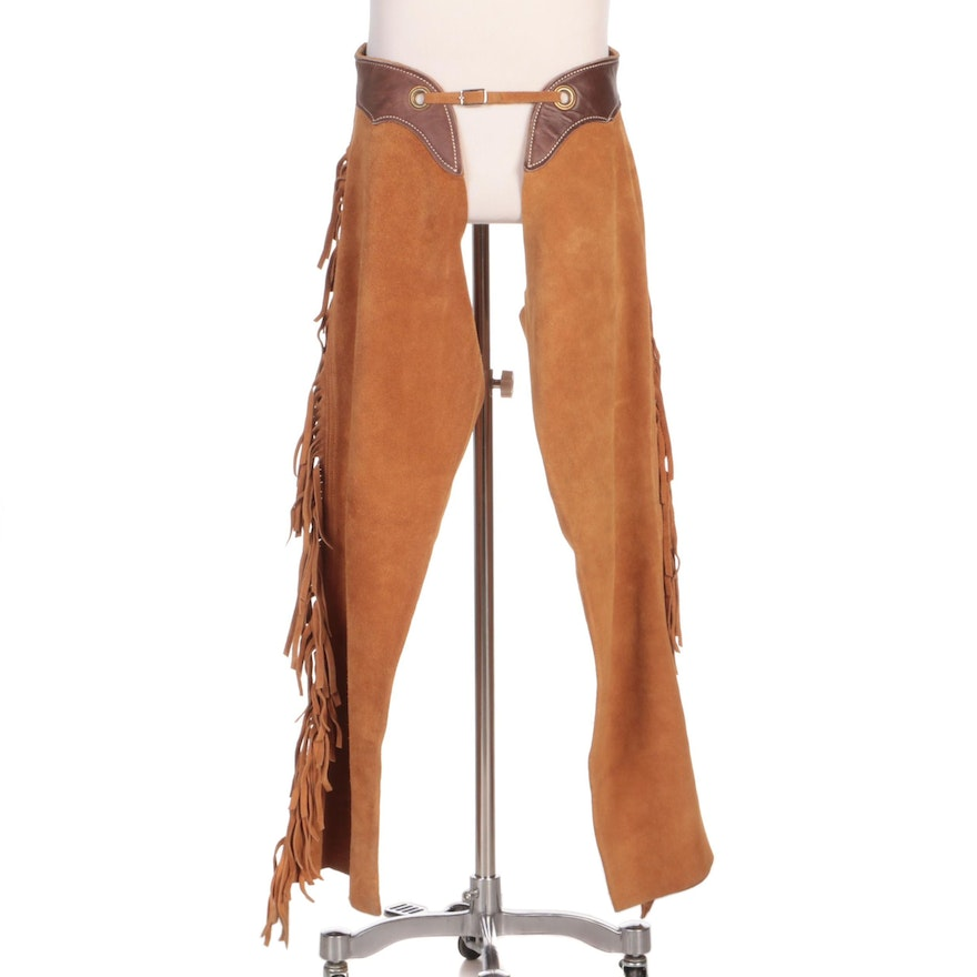 Western Style Fringed Suede and Leather Riding Chaps