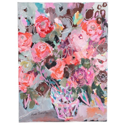 "Kait Roberts Mixed Media Floral Still Life Painting ""Poetry of Color,"" 2021"