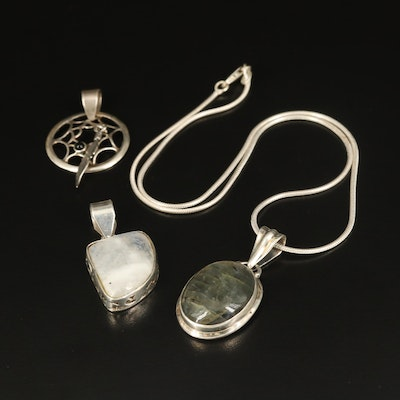 Sterling Necklace and Pendants with Labradorite and Rainbow Moonstone