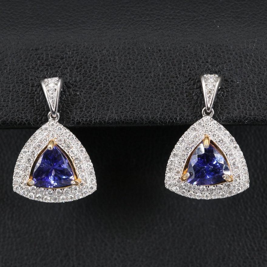 14K 2.32 CTW Tanzanite and Diamond Earrings
