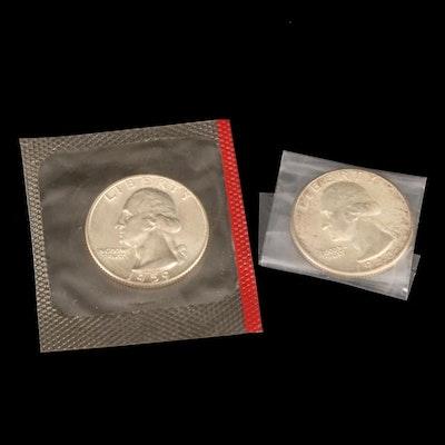 1943-D and 1959-D Washington Silver Quarters