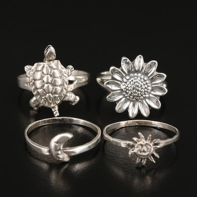 Sterling Rings Featuring Stacking Rings and Articulated Turtle