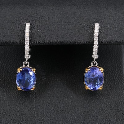 14K 4.75 CTW Tanzanite and Diamond Earrings