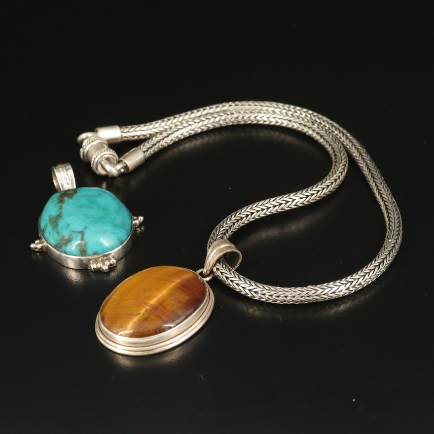 Sterling Tiger's Eye Necklace and Turquoise Pendant