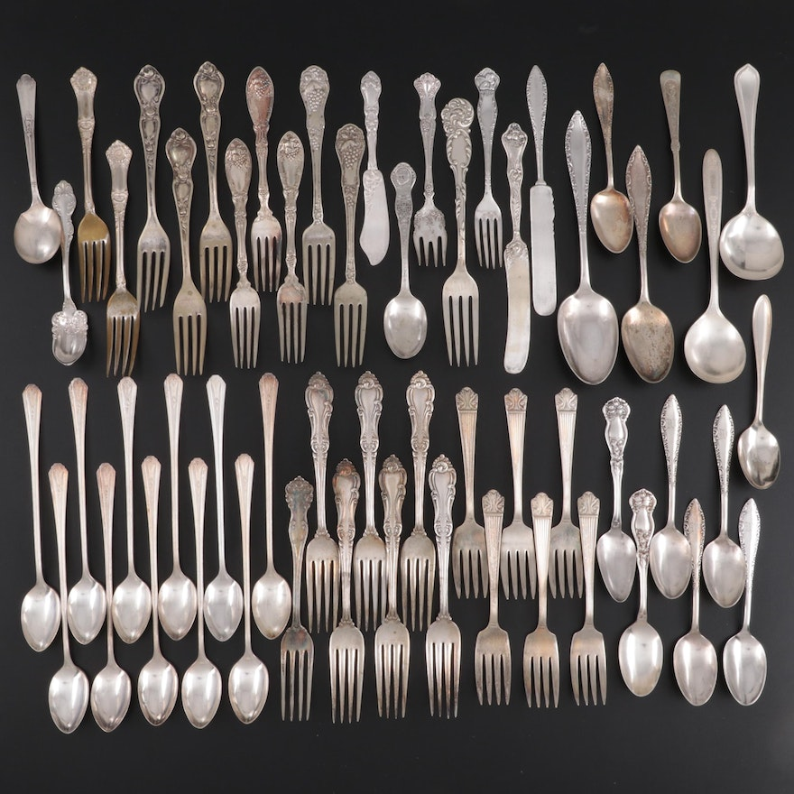 """Reed & Barton """"La Reine"""" Sterling Silver Fork with Other Silver Plate Flatware"""