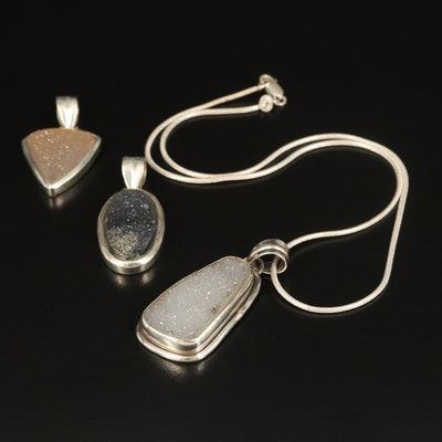 Sterling Druzy Necklace and Pendants